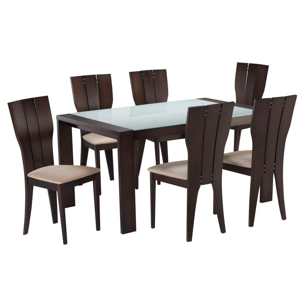 Bonito comedor fotos comedor parana 6 sillas estilo for Sillas apilables comedor
