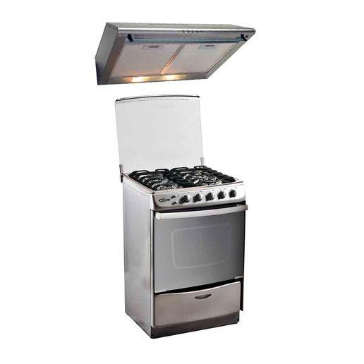 Klimatic-Combo-Cocina-de-pie-Tedesca-4-quemadores-Acero-Campana-extractora-CK601IX-Inox-780779