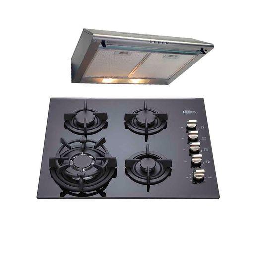Klimatic-Combo-Cocina-empotrable-Notte-4-quemadores-Negro-Campana-extractora-CK601-Inox-780782