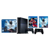 Sony Consola PlayStation 4 Negro + Star Wars Battlefront Bundle PlayStation 4 + 2 Mandos DualShock 4 Negro + Pro Evolution Socce