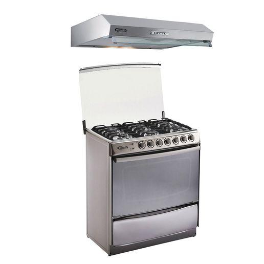 Klimatic-Cocina-Tremare-6-Hornillas-Acero---Campana-Vento-90-Acero-894846