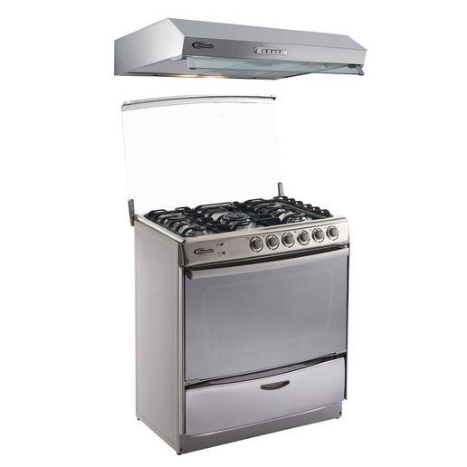 Klimatic-Cocina-Speciale-5-Hornillas-Acero---Campana-Vento-90-Acero-894847
