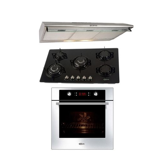Klimatic-Cocina-Glassy-Plus-5-Hornillas-Negro---Campana-CK901IX-Acero---Horno-Electrico-Gamma-Plateado-894934