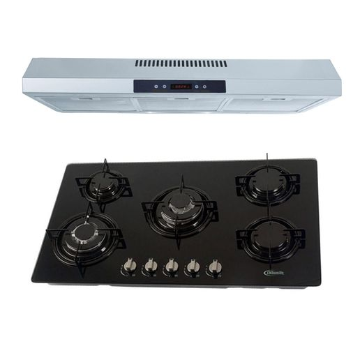 Klimatic-Cocina-Glassy-Plus-5-Hornillas-Negro---Campana-CK-902-IXT-Plateado-894899