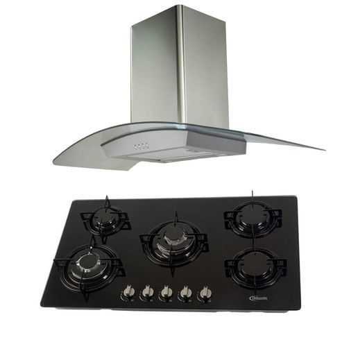 Klimatic-Cocina-Glassy-Plus-5-Hornillas-Negro---Campana-Curva-Acero-894897