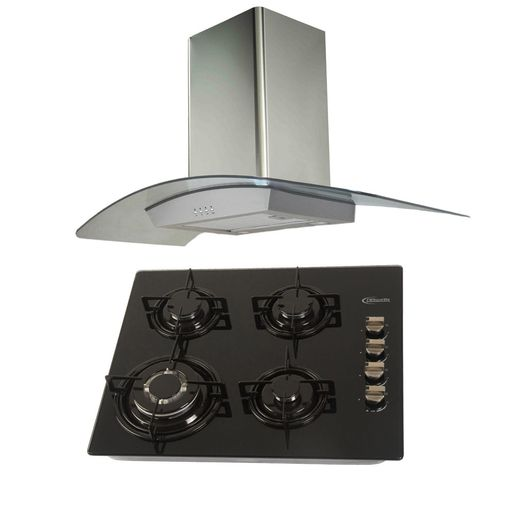 Klimatic-Cocina-Glassy-4-Hornillas-Negro---Campana-Curva-Acero-894891