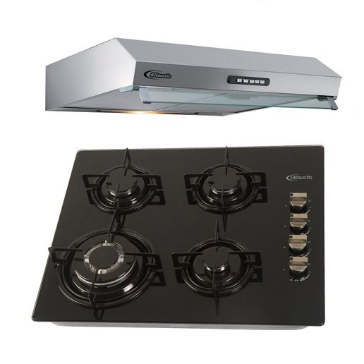 Klimatic-Cocina-Glassy-4-Hornillas-Negro---Campana-Vento-60-Acero-894884