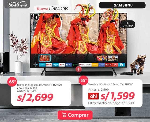 94bddb163e10 Televisor 4K Ultra HD Smart TV 65 RU7100 + Soundbar M360