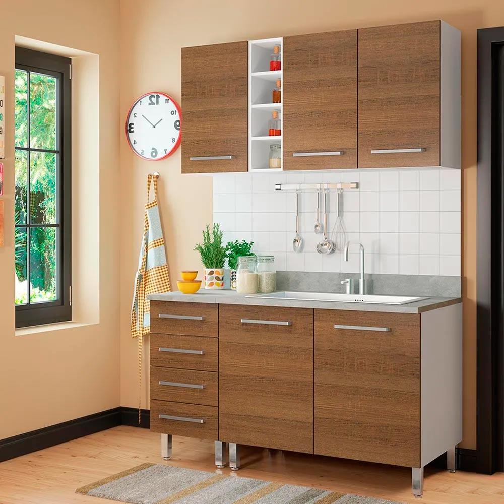 COMBO Muebles de cocina modulares 1.40 metros Nogal