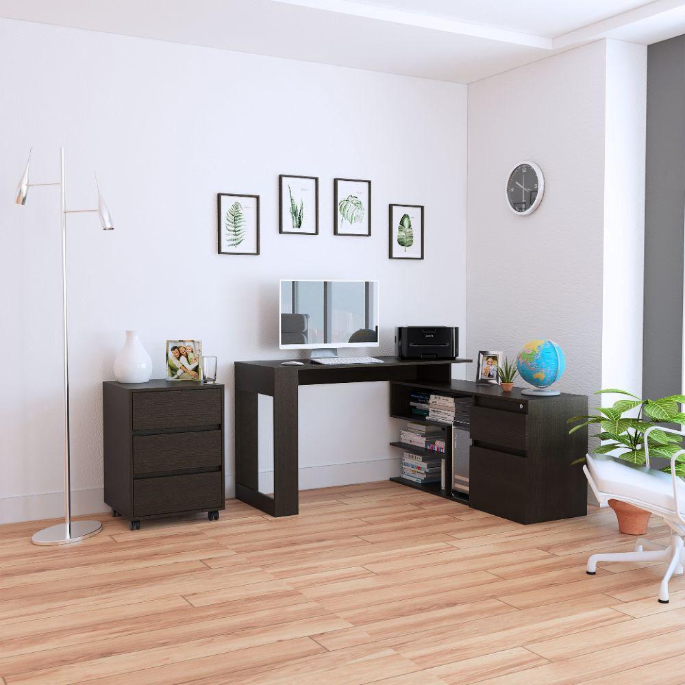 Combo Office 11 Escritorio + Archivador - Wengue