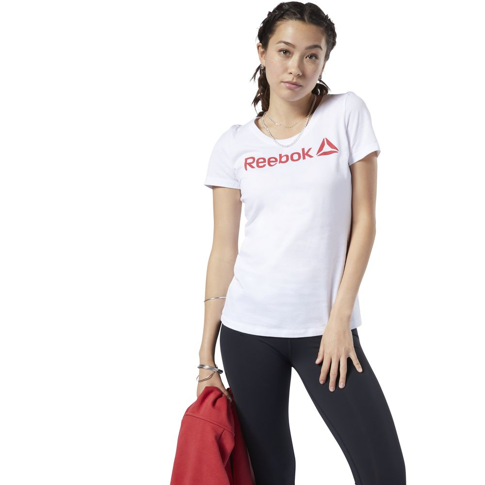 Polo Deportivo Reebok Linear Read Scoop Neck EC2027 Blanco