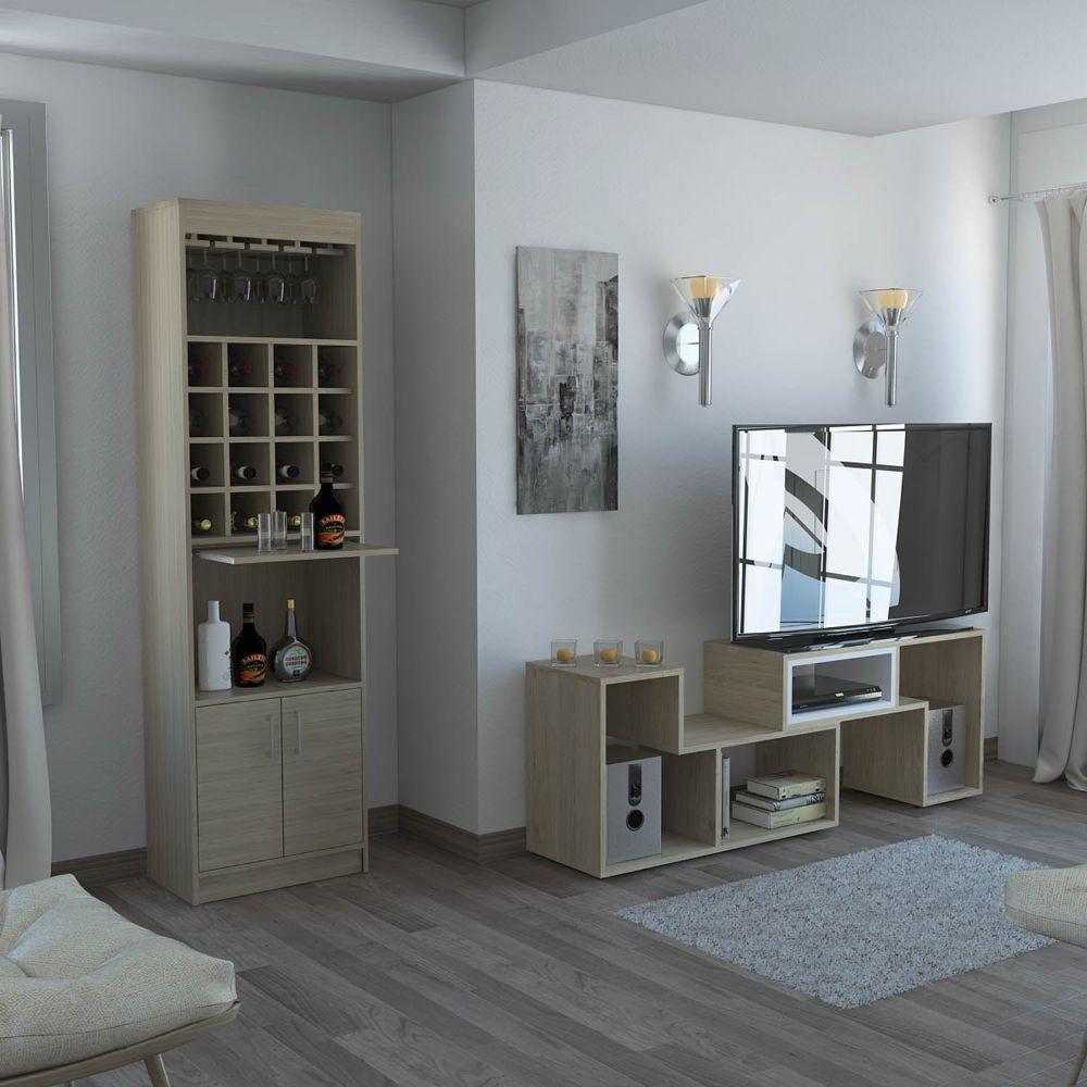Bar Kava + Mesa de TV Extensible - Rovere