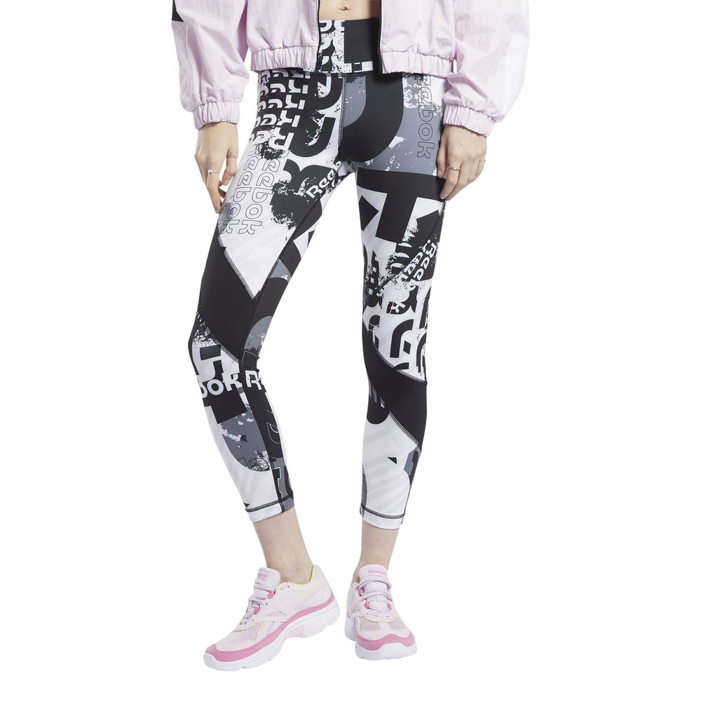 Malla Deportiva Reebok Mujer Fk6821 Meet You There Allover Print 7/8 Negro