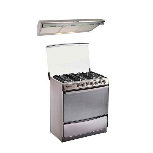 Klimatic-Combo-Cocina-de-pie-Tremare-6-quemadores-Acero-Campana-extractora-CK901IX-Inox-780778