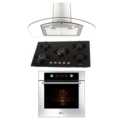 Klimatic-Cocina-Glassy-Plus-5-Hornillas-Negro---Campana-Curva-P-Acero---Horno-Electrico-Gamma-Plateado-894906