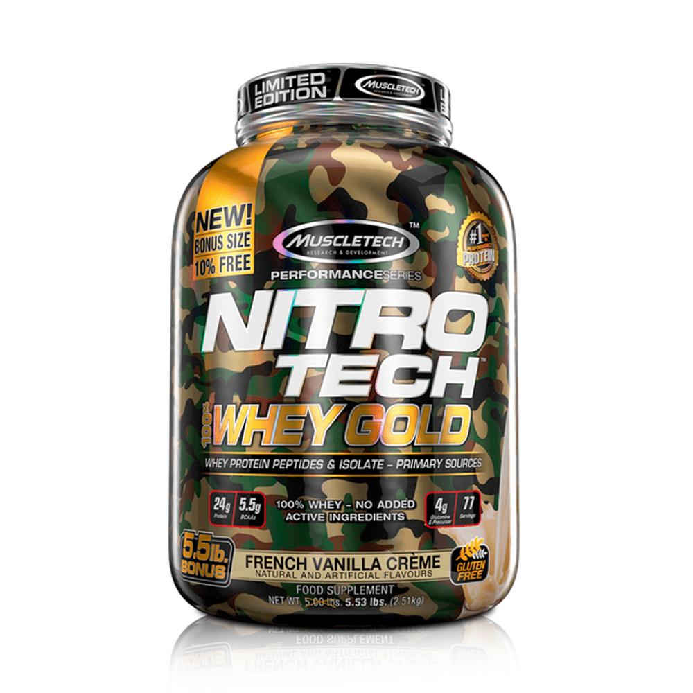 Proteína Muscletech Nitrotech Wg Camuflado Edición Limitada French Vainilla Creme 5.5 Lb