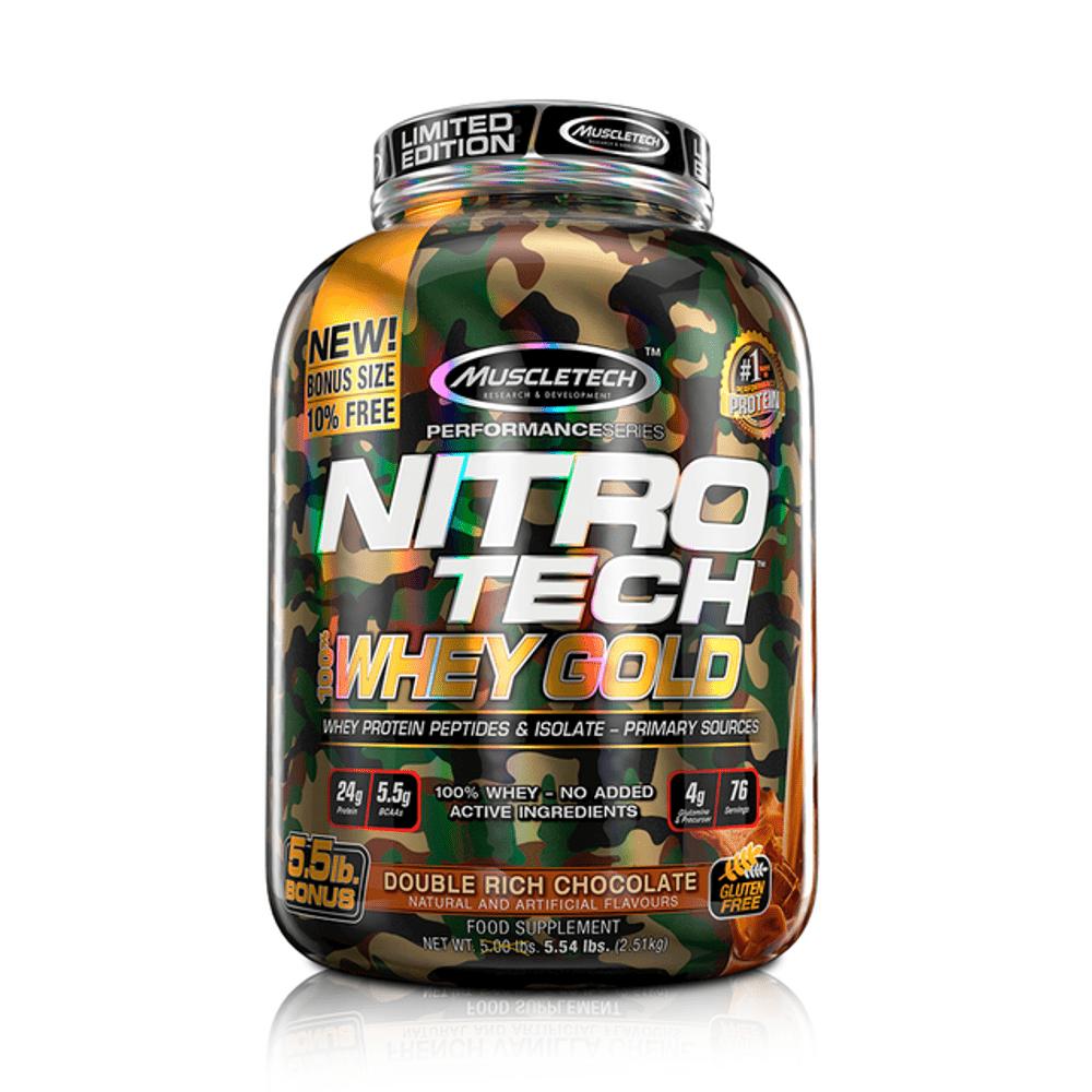 Proteína Muscletech Nitrotech Wg Camuflado Edición Limitada Double Rich Chocolate 5.5 Lb