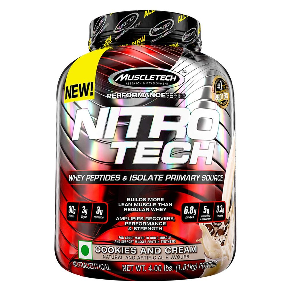 Proteína Muscletech Nitrotech Performance Series Cookie Cream 4 Lb
