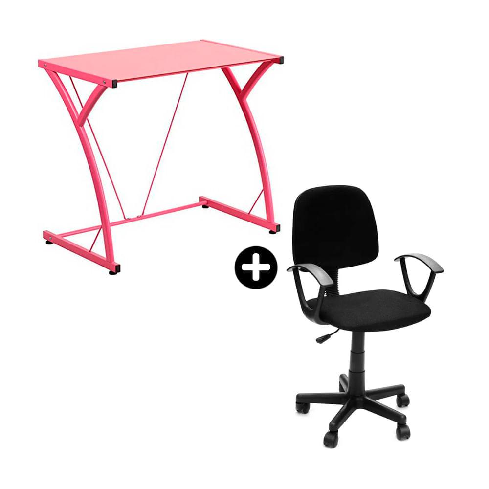 COMBO Escritorio de vidrio Berlín rosado + Silla Nueva Ginebra