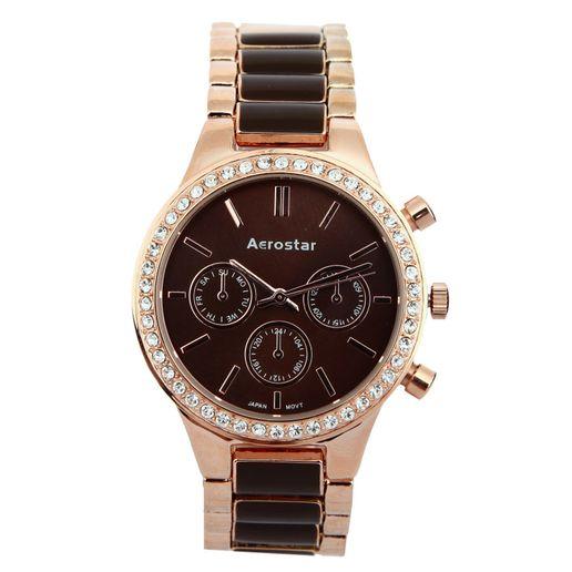 Aerostar-Reloj-63433-Mujer-Chocolate-Oro-Rosa