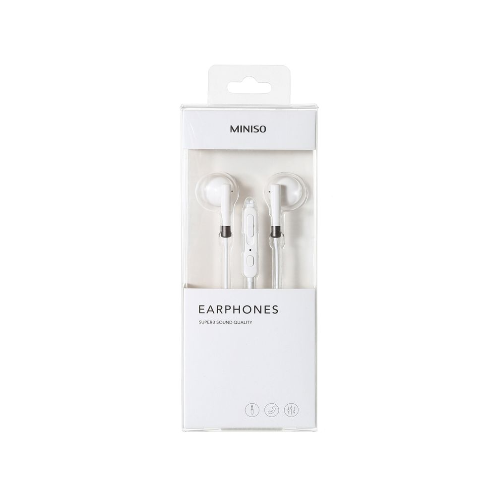 Audífonos Cable Miniso Blanco 4