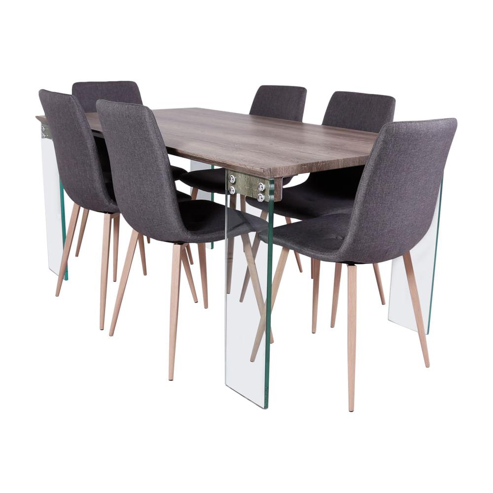 Set de comedor mesa patas de vidrio 6 sillas mar oechsle for Comedor vidrio 6 sillas