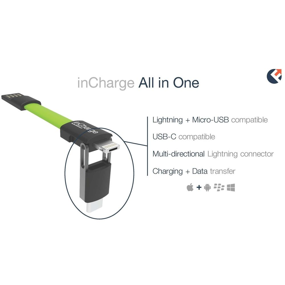 Cable Cargador Llavero con Conexión USB-C, Lightning y Micro USB, inCharge Plus Color Verde