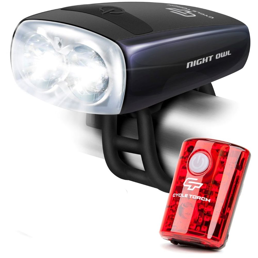 Luces para Bicicleta Recargables LED Pack Frontal y Posterior Night Owl Combo Cycle Torch