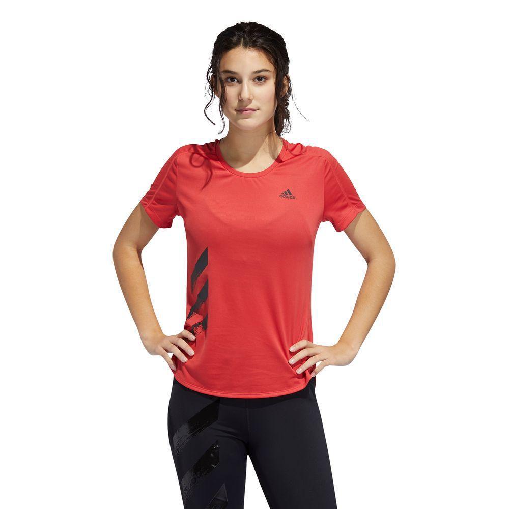 Polo Adidas Mujer RUN IT TEE 3S W Rojo