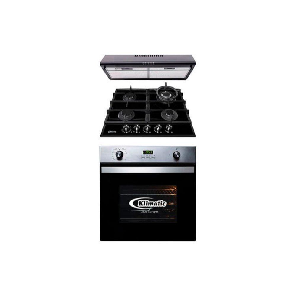 Cocina Empotrable Aosta 60 Pro 4 hornillas Negro + Campana Lineal CK601NE/M Negra + Horno Empotrable KO60-GC 62 litros