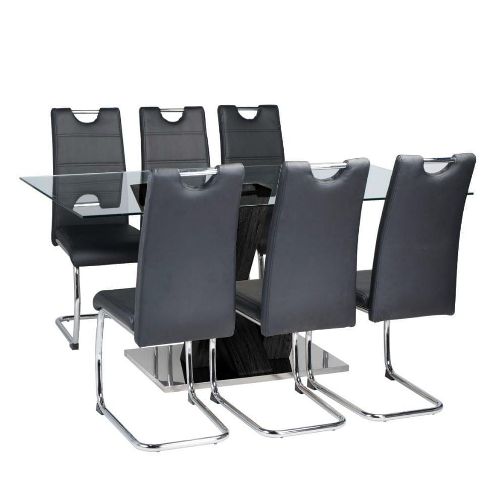 Set comedor vidrio 6 sillas negro oechsle for Set sillas comedor