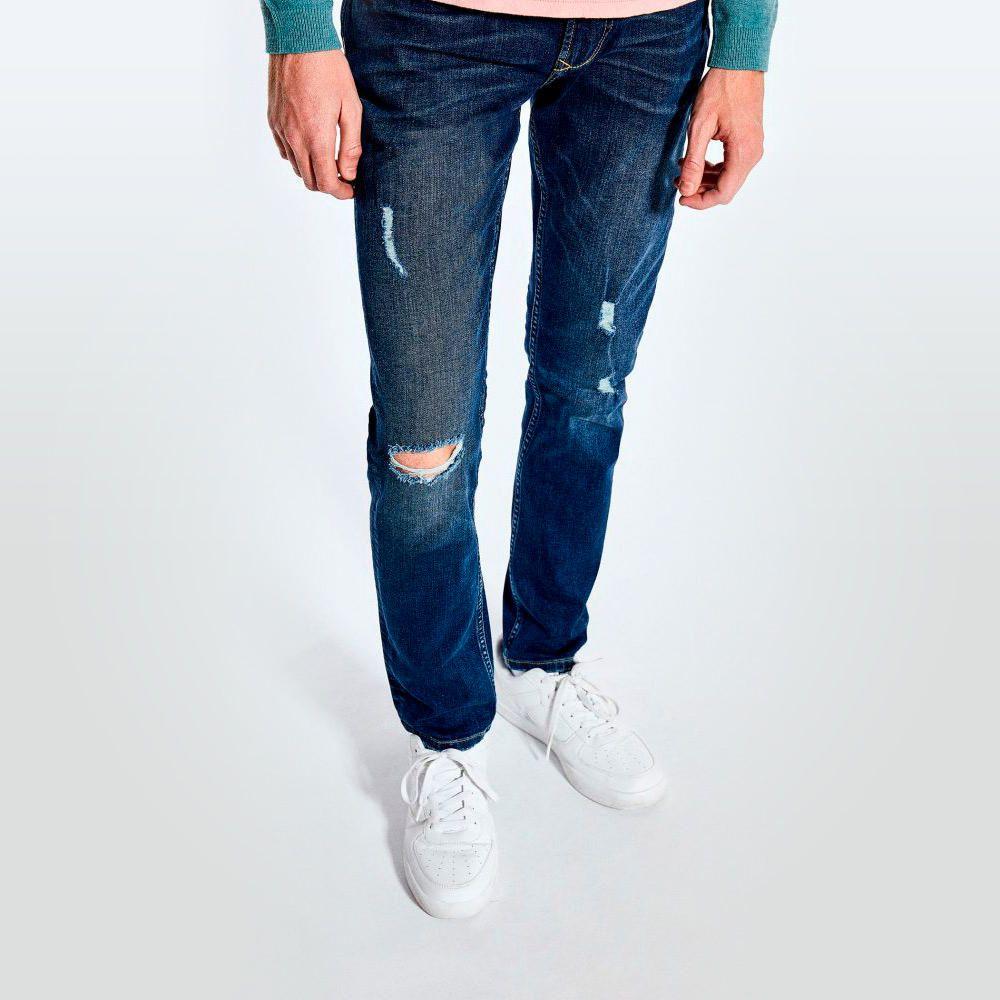 Oscuro Oechsle Rotos Pantalon Azul Jean Slim IqY1nxwFO