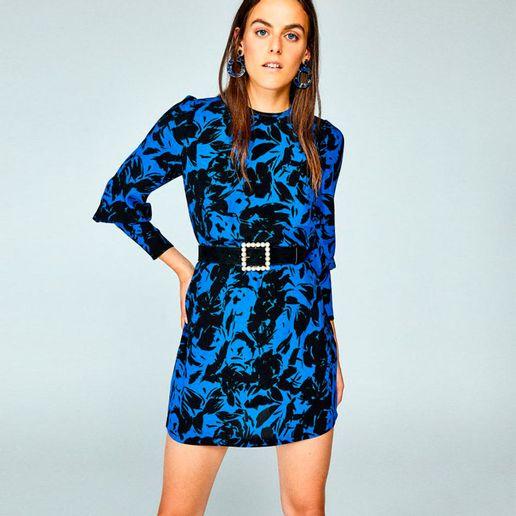 3f103ddb8a Vestido Recto Print Flores Azul